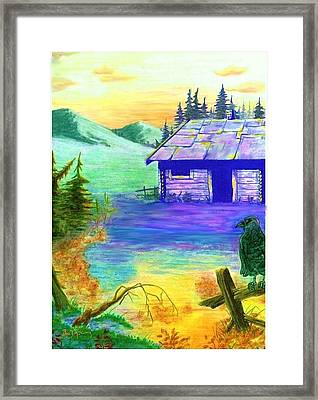 Cabin In The Woods Framed Print by Brad Simpson