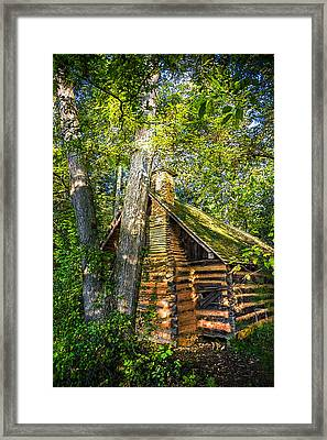 Cabin In The Woods Framed Print by Debra and Dave Vanderlaan