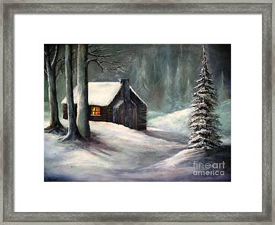 Cabin In The Woods Framed Print by Hazel Holland
