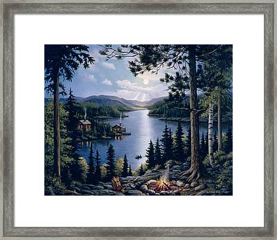 Cabin In The Woods Framed Print by John Zaccheo