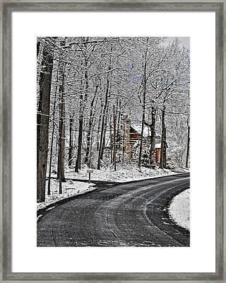 Cabin In The Woods Framed Print by Lara Ellis