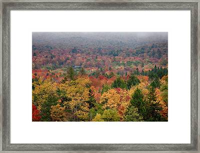 Cabin In Vermont Fall Colors Framed Print