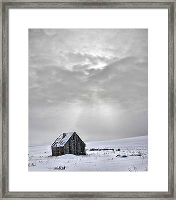 Cabin In Winter Framed Print by Leland D Howard