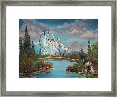 Cabin On The Lake Framed Print by Bob Williams