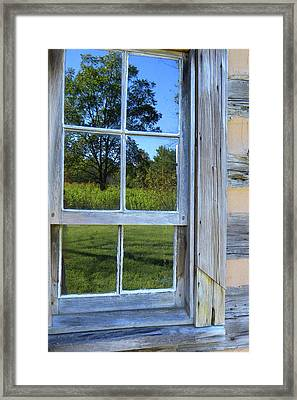 Framed Print featuring the photograph Cabin Reflections by Larry Bishop