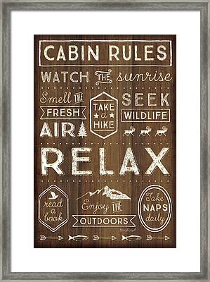 Cabin Rules Framed Print by Jennifer Pugh