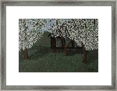 Cabin With Blossoms Woods Spring Framed Print by Kurt Olson