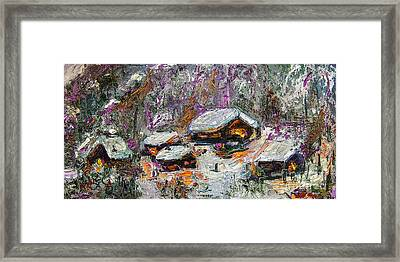 Cabins In The Snow Modern Expressionism Framed Print by Ginette Callaway
