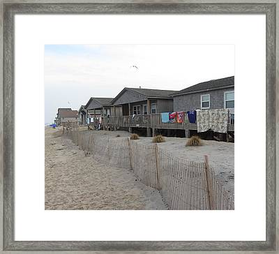 Framed Print featuring the photograph Cabins On Buxton Beach by Cathy Lindsey