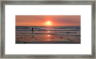 Cable Beach At Sunset With Figure Framed Print