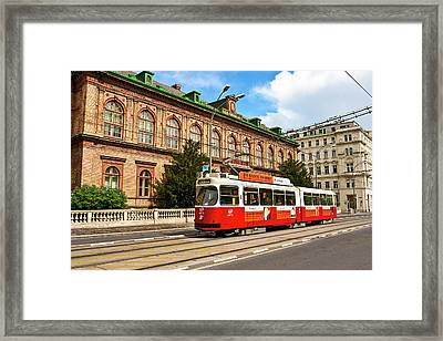 Cable Car Moving Down The Ringstrasse Framed Print