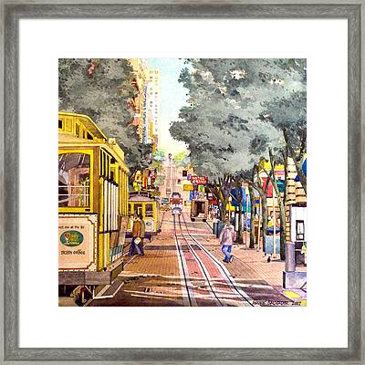 Cable Cars On Powell Street Framed Print
