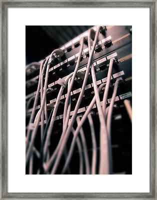 Cables In Server Room Framed Print