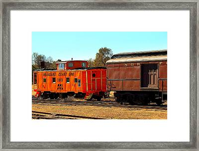 Caboose And Car Framed Print