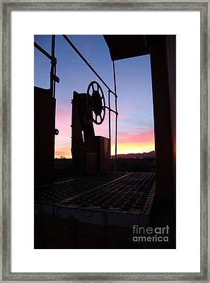 Caboose Waiting Til Dawn Framed Print by Diane Greco-Lesser