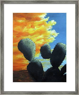 Cacti At Sunset Framed Print