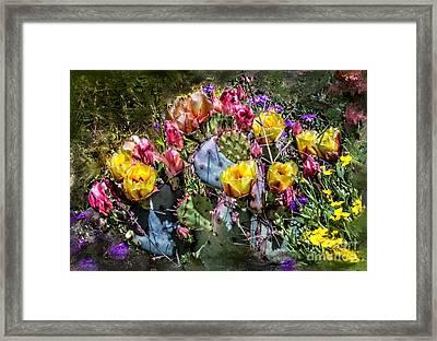 Cacti Flowers Painterly Framed Print by Georgianne Giese