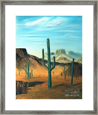 Cactus And Mesa Framed Print by Stephen Schaps