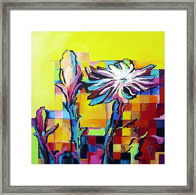 Framed Print featuring the painting Cactus Blossom by Jodie Marie Anne Richardson Traugott          aka jm-ART