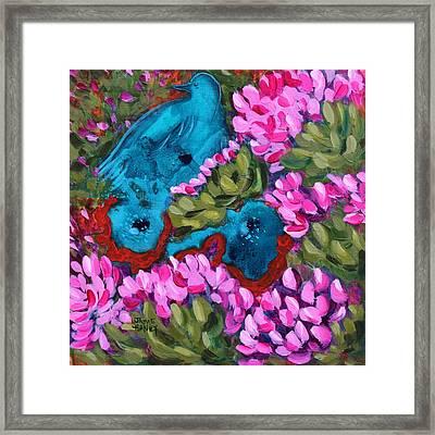 Cactus Flower Blue Bird Dream Framed Print