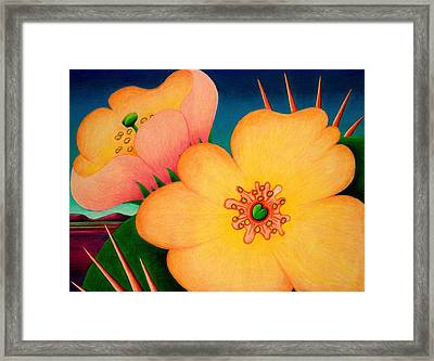 Framed Print featuring the drawing Cactus Flower by Richard Dennis