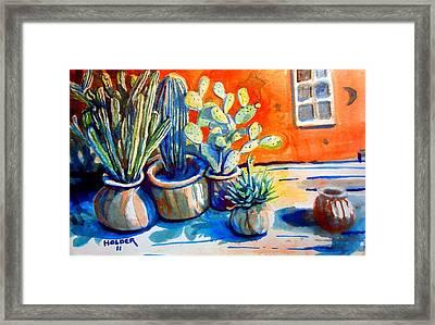 Cactus In Pots Framed Print