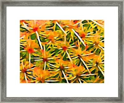 Cactus Pattern 2 Yellow Framed Print by Amy Vangsgard