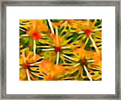 Cactus Pattern 3 Yellow Framed Print by Amy Vangsgard