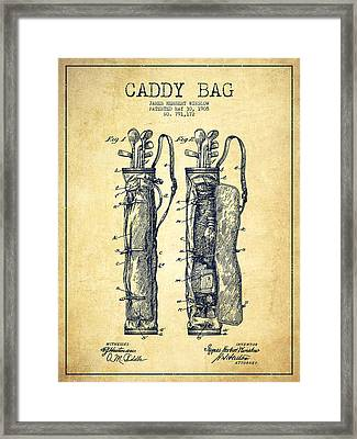 Caddy Bag Patent Drawing From 1905 - Vintage Framed Print by Aged Pixel