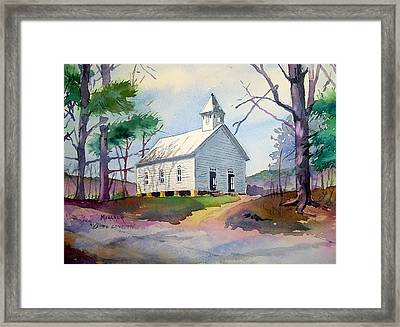 Cades Cove Church Framed Print by Spencer Meagher