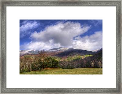 Cades Cove First Dusting Of Snow Framed Print by Debra and Dave Vanderlaan