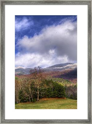 Cades Cove First Dusting Of Snow II Framed Print by Debra and Dave Vanderlaan