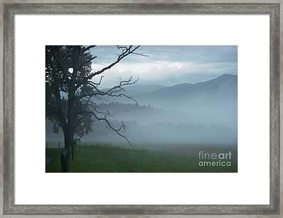 Cades Cove Fog Sunrise Framed Print