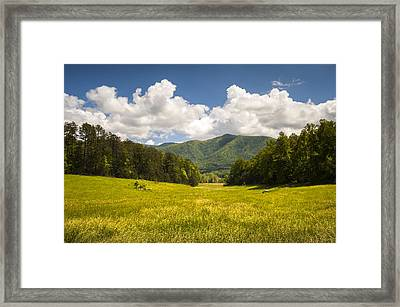 Cades Cove Great Smoky Mountains National Park - Gold And Blue Framed Print by Dave Allen