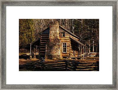 Cades Cove Oliver's Cabin Framed Print by Greg and Chrystal Mimbs
