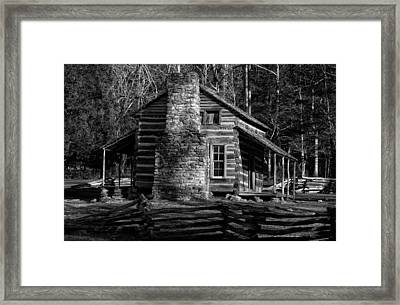 Cades Cove Oliver's Cabin In Black And White Framed Print by Greg and Chrystal Mimbs