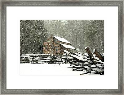 Cades Cove - Snowy Cabin Framed Print