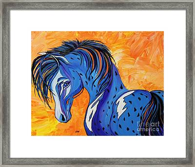 Framed Print featuring the painting Cadet The Blue Horse by Janice Rae Pariza