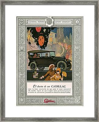 Cadillac 1920 1920s Usa Cc Cars Framed Print by The Advertising Archives