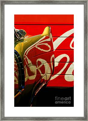 Cadillac And Coke Framed Print by Gary Warnimont