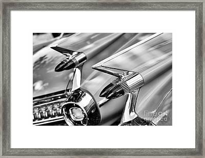 Cadillac Bullet Tail Lights Monochrome Framed Print