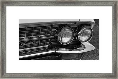 Cadillac Grill And Lights B/w Framed Print by Mick Flynn
