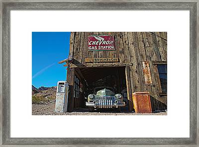 Framed Print featuring the photograph Cadillac In A Chevron Station 5 by James Sage