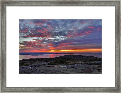 Cadillac Mountain Sunrise 2 Framed Print by Stephen  Vecchiotti
