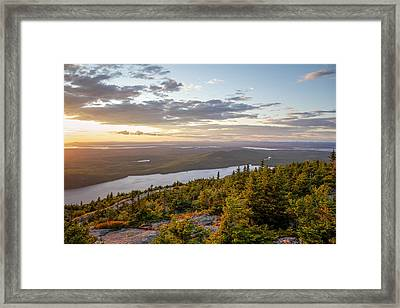 Framed Print featuring the photograph Cadillac Mountain Sunset  by Trace Kittrell