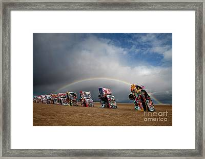 Cadillac Ranch Framed Print by Keith Kapple
