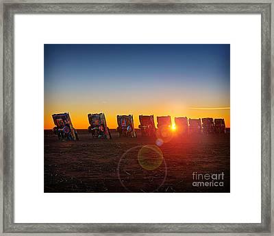Cadillac Ranch Sunset Framed Print