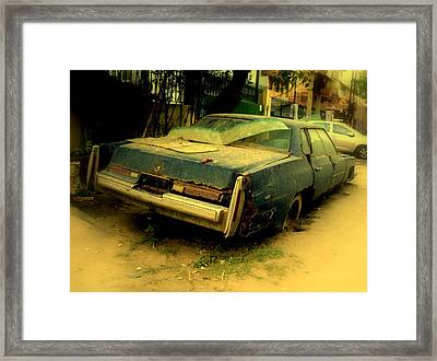 Framed Print featuring the photograph Cadillac Wreck by Salman Ravish