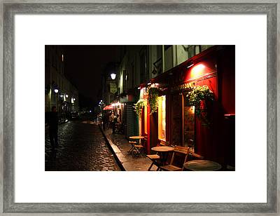 Cafe At Night Framed Print by Carrie Warlaumont