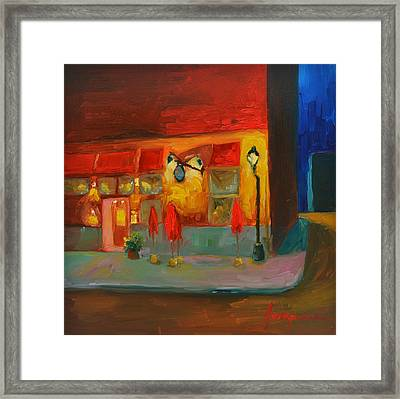 Cafe At Night Framed Print by Patricia Awapara